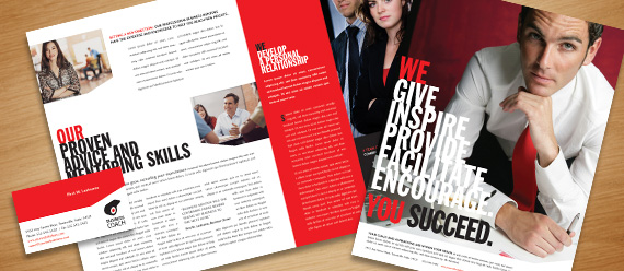 Business Coach Brochure, Postcard, Flyer & Ad and Stationery Designs