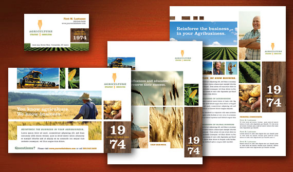 Farming & Agriculture Brochure, Flyer & Ads, Datasheet, and Stationery Designs