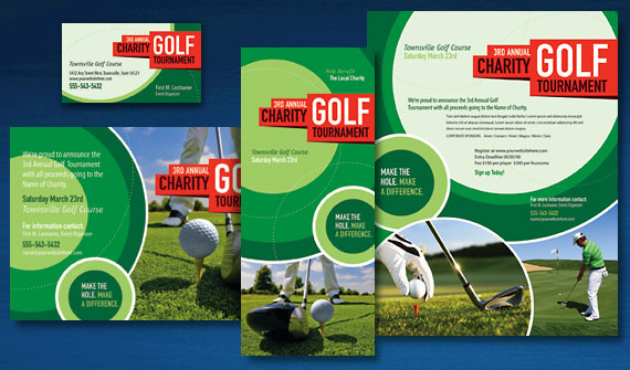 Golf Tournament Brochure, Postcard, Flyer & Ads, and Stationery Designs