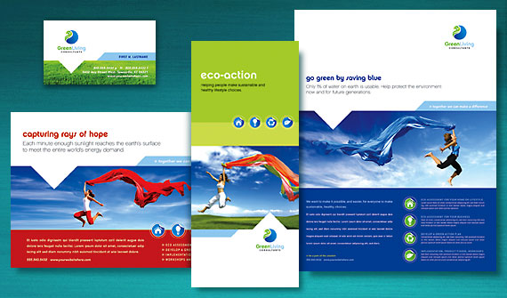 Green Living Consultant Brochure, Newsletter, Postcard, Flyer & Ads, Tri-Fold Brochure, and Stationery Designs