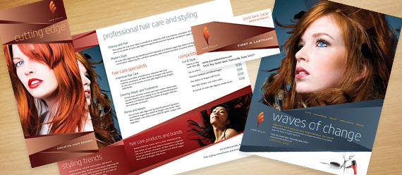 Hair Stylist & Salon Brochure, Postcard, Stationery, Flyer & Ad, and Poster Designs
