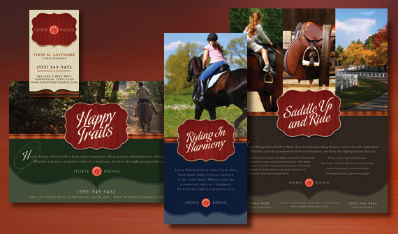 Horse Riding Stables Brochure, Postcard, Flyer & Ads, and Stationery Designs