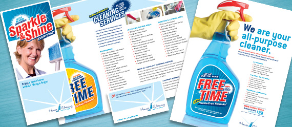 House Cleaning Services Brochure, Postcard, Flyer & Ad, and Stationery Designs