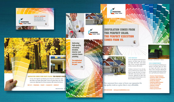 House Painting Contractor Brochure, Postcard, Flyer & Ads, Datasheet, and Stationery Designs