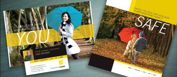 Insurance Agent Brochure, Postcard, Stationery, and Flyer & Ads Designs