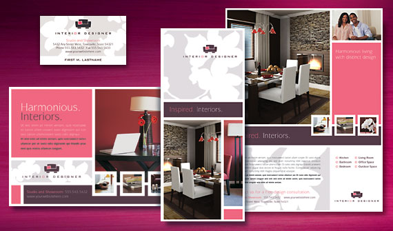 Interior Design Brochure, Flyer & Ads, Stationery, and Note Card Designs