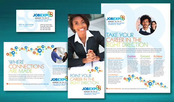 Job Expo & Career Fair Brochure, Postcard, Poster, Flyer & Ads, and Stationery Designs
