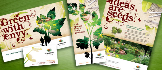 Landscape Design Brochure, Postcard, Stationery, and Flyer & Ads Designs