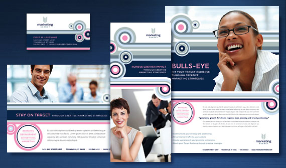 Marketing Agency Brochure, Postcard, Flyer & Ads, Tri-Fold Brochure, and Stationery Designs