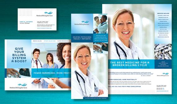 Medical Billing & Coding Brochure, Postcard, Flyer & Ads, and Stationery Designs