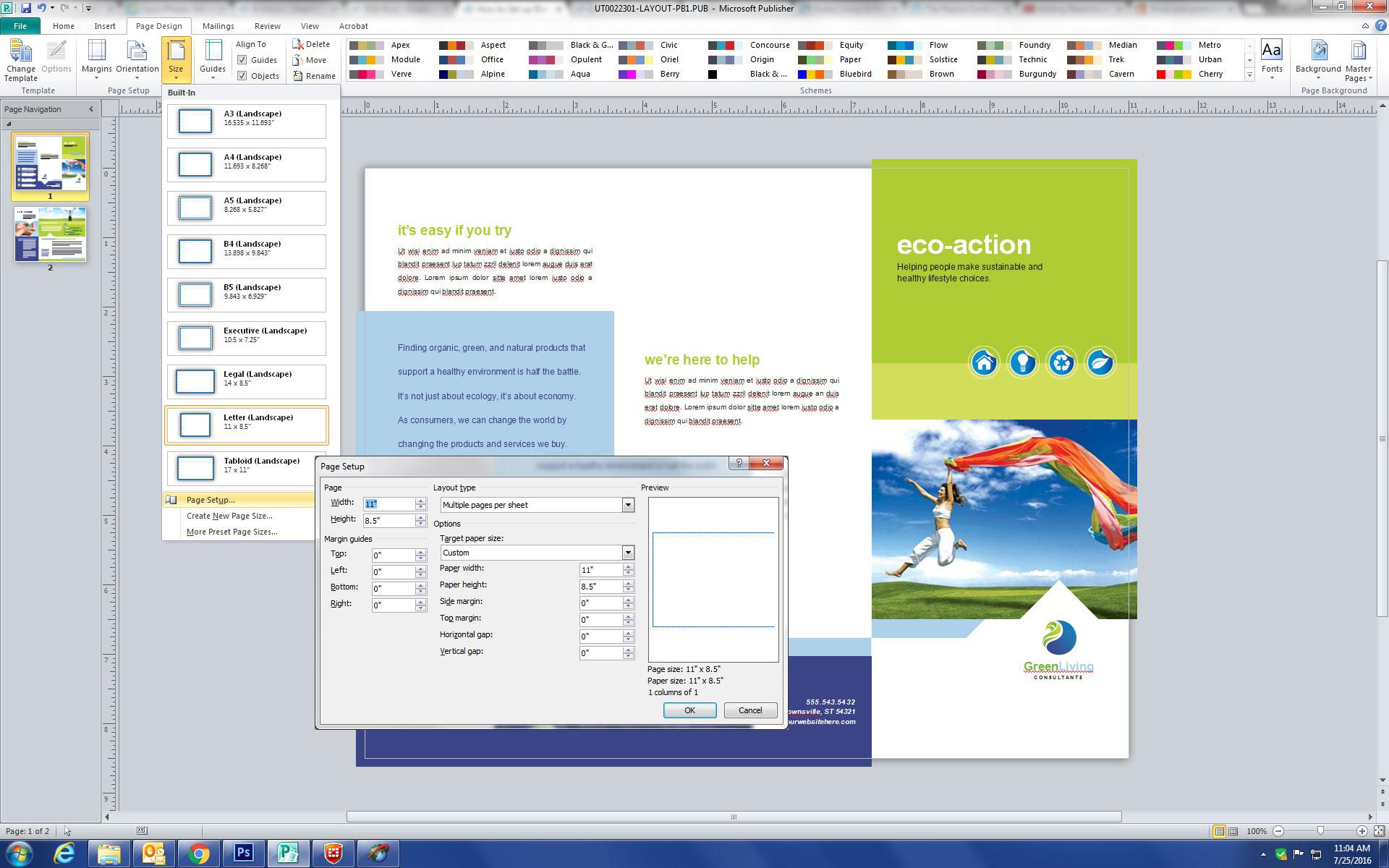 Microsoft Publisher Page Setup Document Size