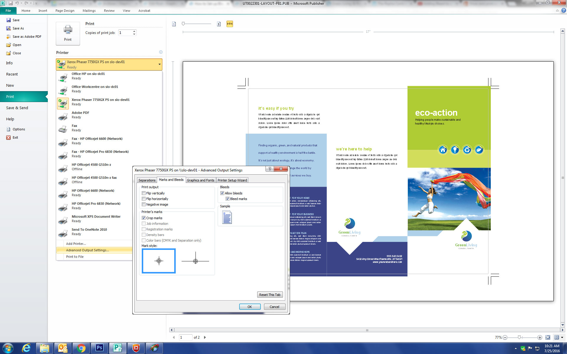 Microsoft Publisher Print Setup Dialog Box Crop Marks