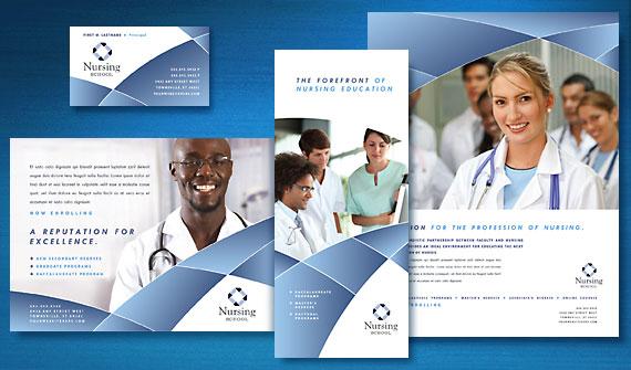 Nursing School Brochure, Newsletter, Postcard, Flyer & Ads, Tri-Fold Brochure, and Stationery Designs