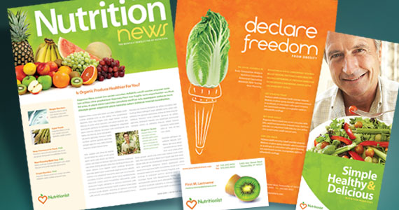 Nutritionist & Dietician Brochure, Newsletter, Poster, Stationery and Flyer & Ads Designs