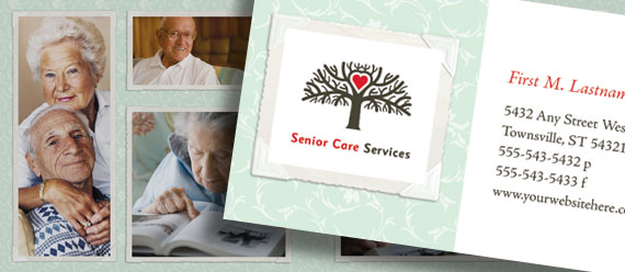 Senior Care Brochure, Newsletter, Flyer & Ad, and Stationery Designs
