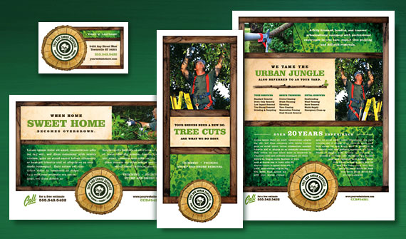 Tree Service Brochure, Postcard, Flyer & Ads, and Stationery Designs