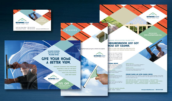 Window Cleaning & Pressure Washing Brochure, Postcard, Flyer & Ads, and Stationery Designs