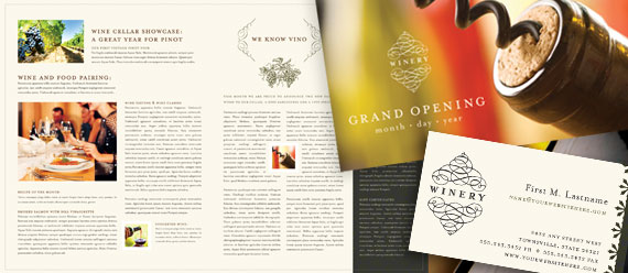 Winery Brochure, Postcard, Newsletter, Product Sheet and Stationery Designs