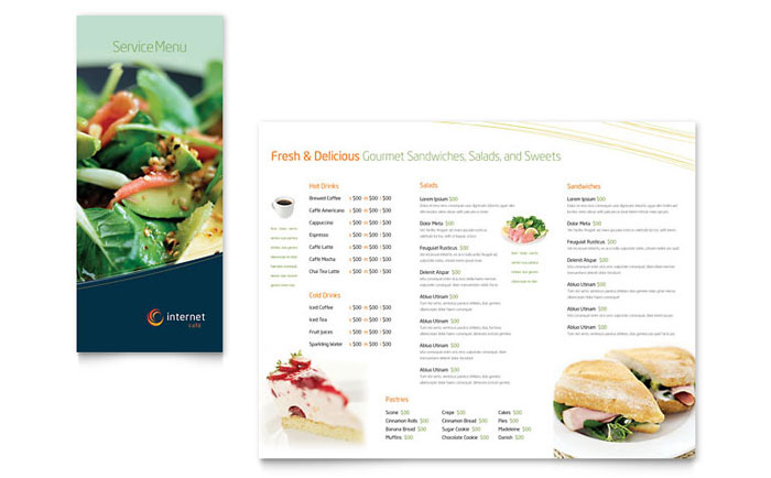 free menu template example