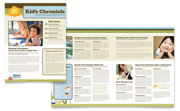 Creative Classroom Newsletter Design Example