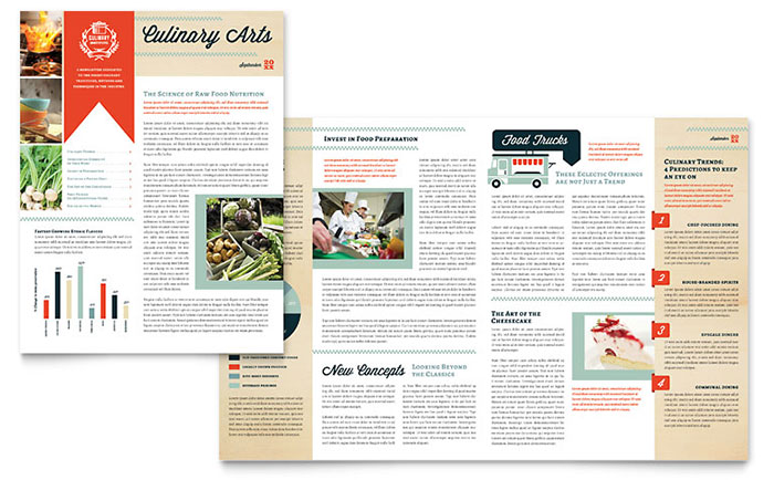 Culinary Arts School - Newsletter Design Example