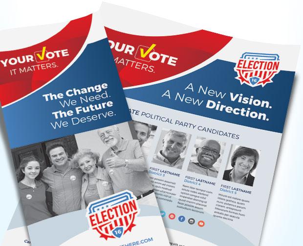 Election Posters, Flyers, Brochures - Design Sample