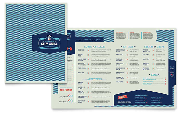 Fine Dining Restaurant - Menu Layout Sample