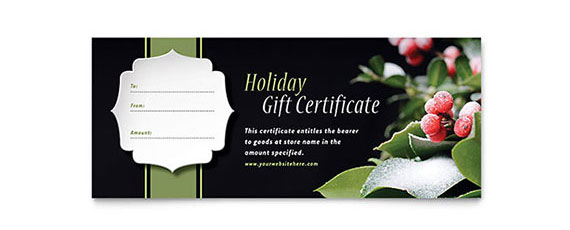 Holiday Gift Certificate Design Idea