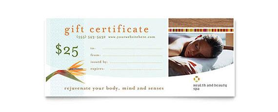 Massage Gift Certificate Design Idea