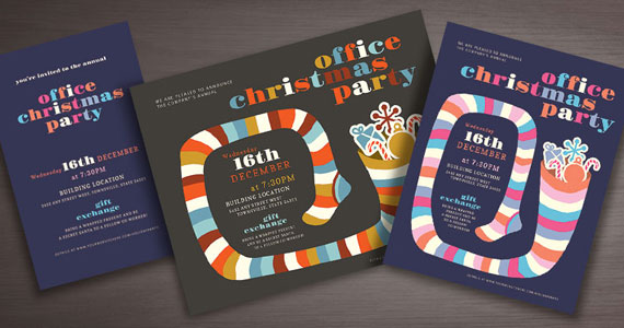 Office Christmas Party Poster, Flyer, Invitation Designs