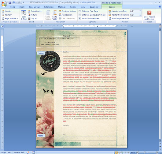 Cut and Paste Header Text and Graphics in MS Word