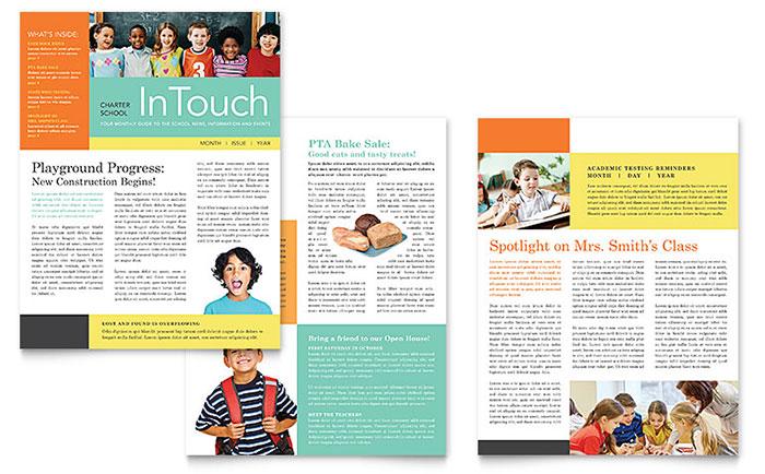 School Classroom Newsletter Design Example