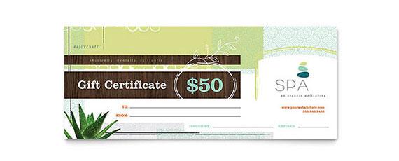 Spa Gift Certificate Design Design Idea