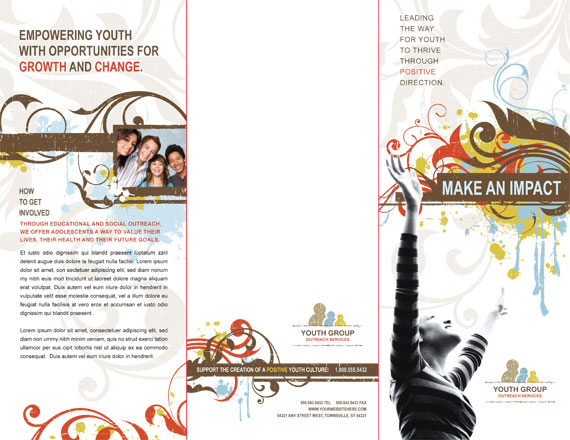 Tri-Fold Brochure Template Outside Spread Fold Lines