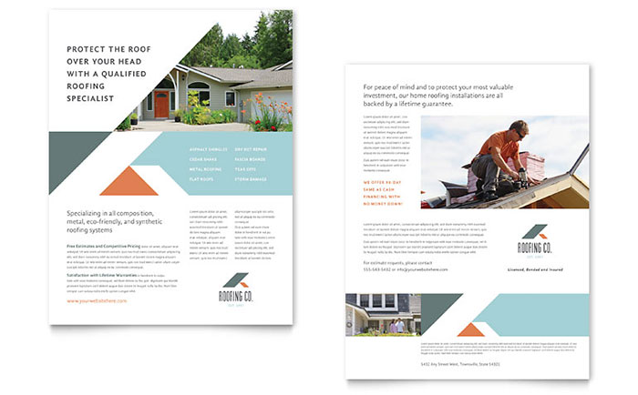 Roofing Company Two Page Brochure Template