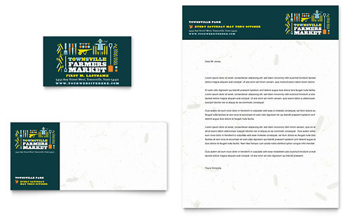 Farmers Market Business Card & Letterhead Template