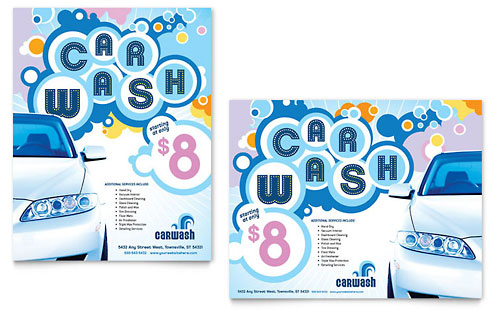 Car Wash Flyer  Ad Template Design