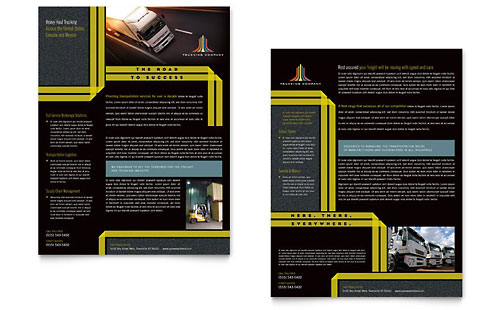 trucking  u0026 transport tri fold brochure template design