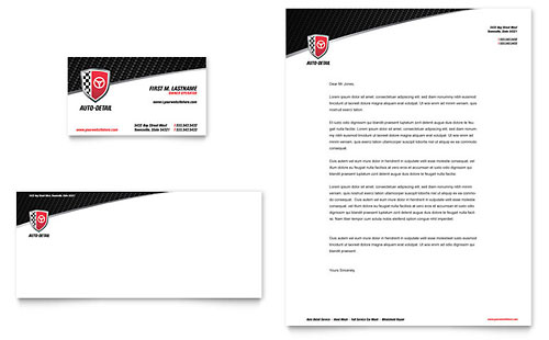 Auto Detailing Business Card & Letterhead Template Design