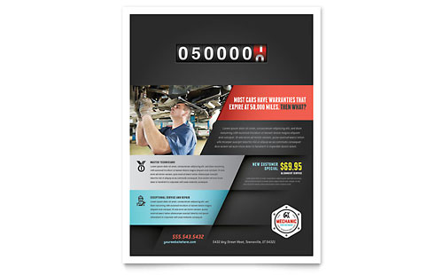 Auto Mechanic Flyer Template Design