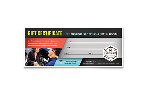Auto Mechanic Gift Certificate Template Design