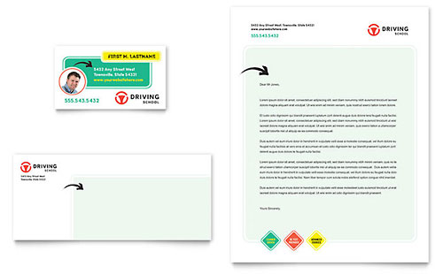 Driving School Business Card & Letterhead Template Design