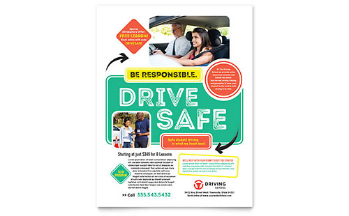 Driving School Flyer Template Design