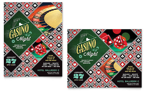 Casino Night Poster Template Design