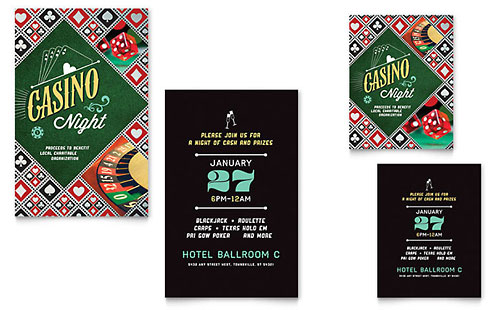 Casino Night Note Card Template Design