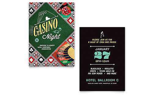 Casino Night Invitation Template Design