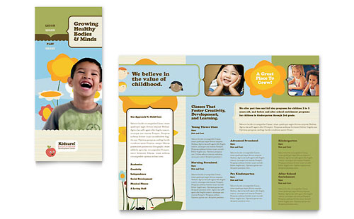 Child Development School Tri Fold Brochure Template Design
