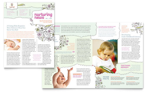 Babysitting daycare flyer template design for Bridesmaid newsletter template