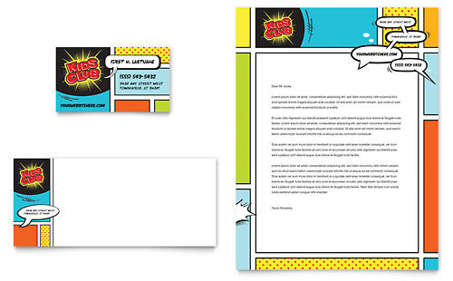 Kids Club Business Card & Letterhead Template
