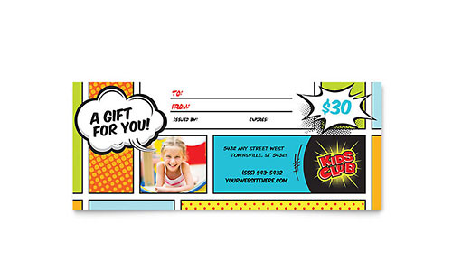 Kids Club Gift Certificate Template